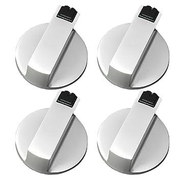 4 Piezas Botón del Horno de Cocina, Gosear universal metal interruptor giratorio perillas de control accesorios de reemplazo para cocina estufa de gas horno ...