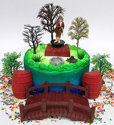 The Hobbit Bilbo Baggins Birthday Cake Topper Set Featuring Figure and Decorative Themed Accessories by Cake Toppers