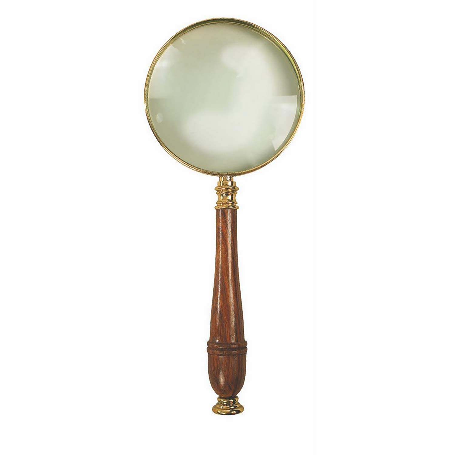 antique brass and wood small size magnifying glass