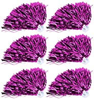 Cheerleading Poms,6pcs 7 Colors Cheerleader Pom Poms Squad Cheer Sports Party Dance Useful Accessories
