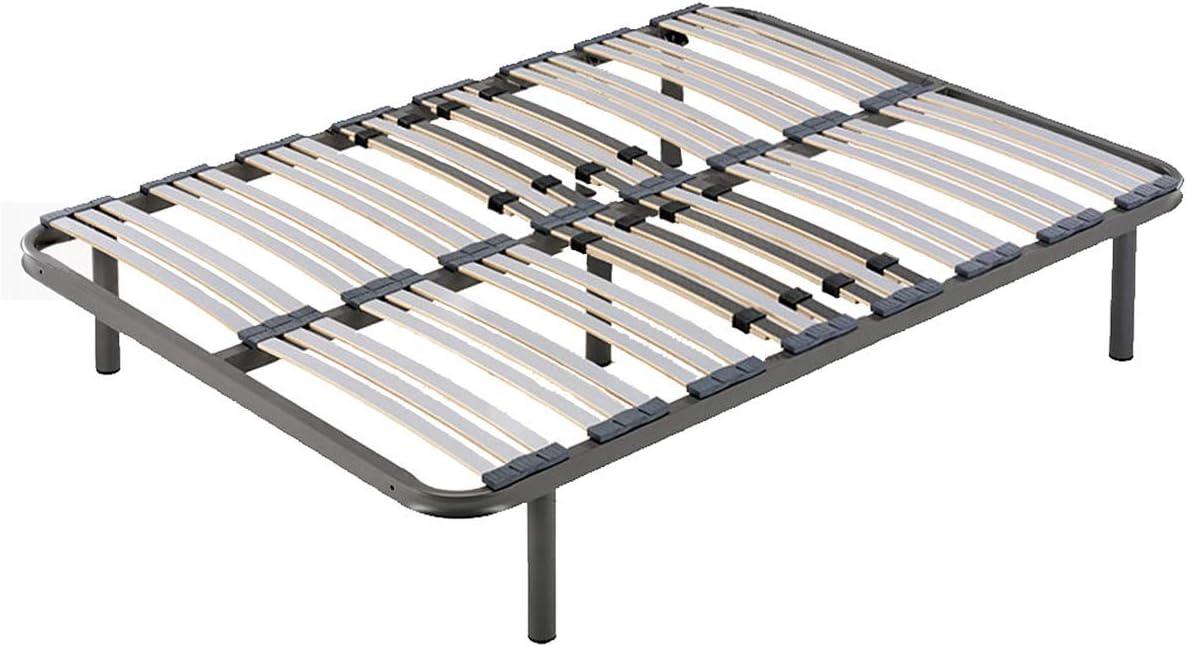 HOGAR24 ES Somier Multiláminas con Regulación Lumbar + 5 Patas Cilíndricas de 26cm, 150x190 cm