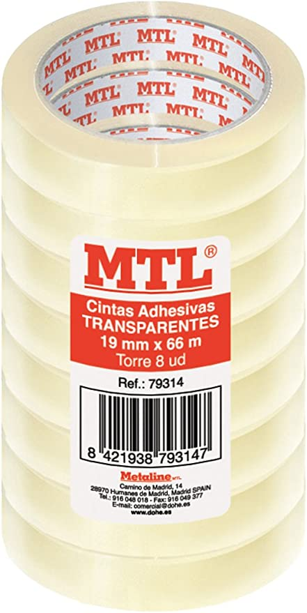 MTL 79314 - Pack de 8 cintas adhesiva, 19 mm x 66 m: Amazon.es ...