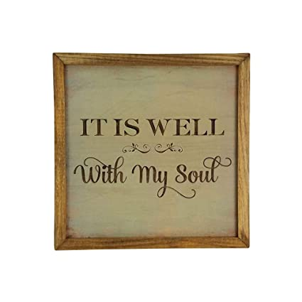 Imprints Plus Inspirational Wood Sign Rustic Wall Décor Plaque With Sawtooth Hanger Nail And Instruction Card It Is Well 12 X 12 147 00006