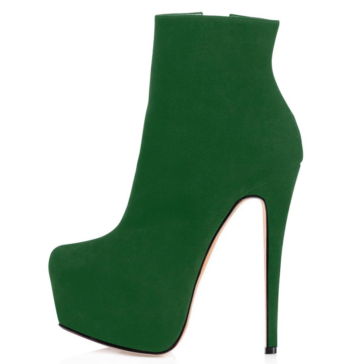 ElasheStivaletti Donna con Tacco 15CM Scarpe col Tacco con Plateau Classiche Suede Stivaletti Donna Verde