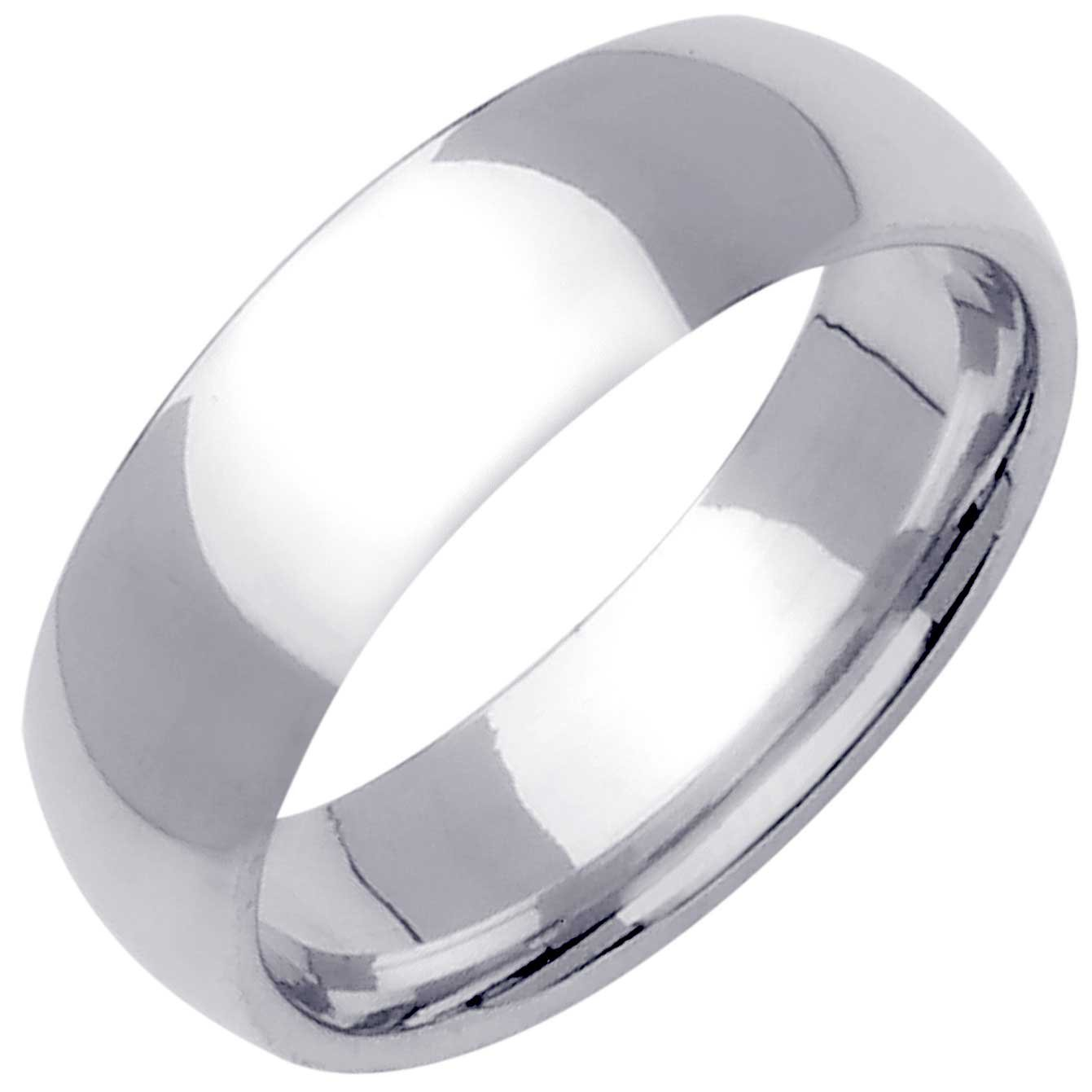 Platinum Traditional Classic Men's Comfort Fit Wedding Band (6.5mm) Size-13