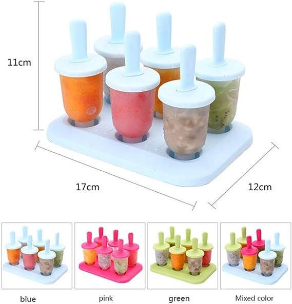 Reutilizables y Lavables AOLVO Juego de 6 paletas con Bandeja y funci/ón antigoteo Reutilizables para moldes de Palo de Hielo para Adultos y beb/és
