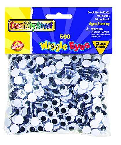 Creativity Street Wiggle Eyes Classpack, Black 10mm (Pack of 500) (10mm Google Eyes)