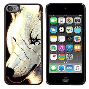 TECHCASE---Cubierta de la caja de protección para la piel dura ** Apple iPod Touch 6 6th Touch6 ** --White Wolf Cicatrices Cara Scarface Ojos azules