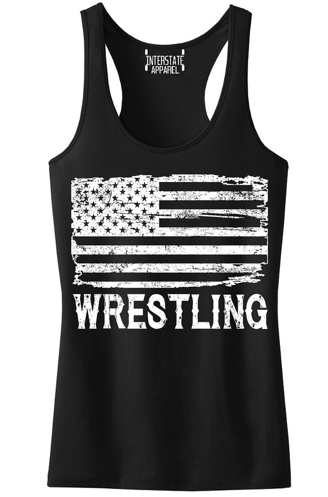 Junior's Wrestling American Flag Black Racerback Tank Top T-Shirt Large Black