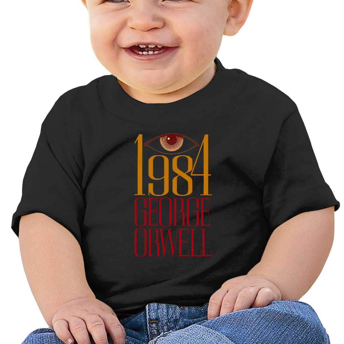 MONIKAL Unisex Infant Short Sleeve T-Shirt 1981 George Orwell Toddler Kids Organic Cotton Graphic Tee Tops