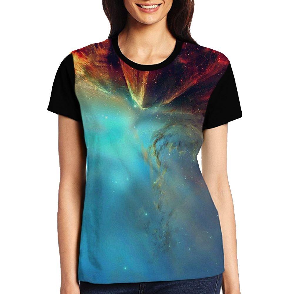 CKS DA WUQ Amazing Nebula Women's Raglan T-Shirt Round Neck Sport Baseball Tees Tops Undershirts