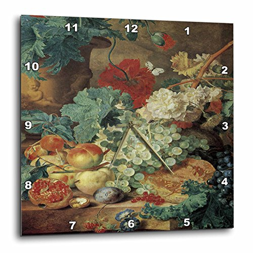 3dRose dpp_149701_1 Fruit Still Life by Jan Van Huysum Grapes, Pomegranate, Peaches and Plums Wall Clock, 10 by 10-Inch