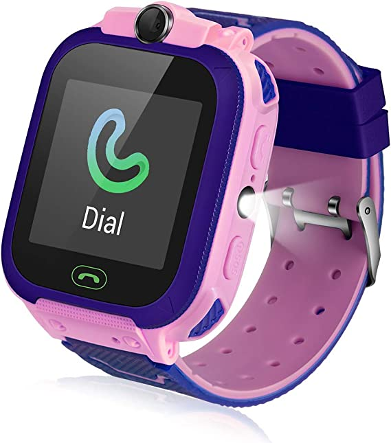 Fediman Kids Smart Watch, LBS Tracker, Watches for Kids 1.44 Touch Screen with Games SOS Call Camera Flashlight Kids Watch, SIM Card Slot Compatible ...