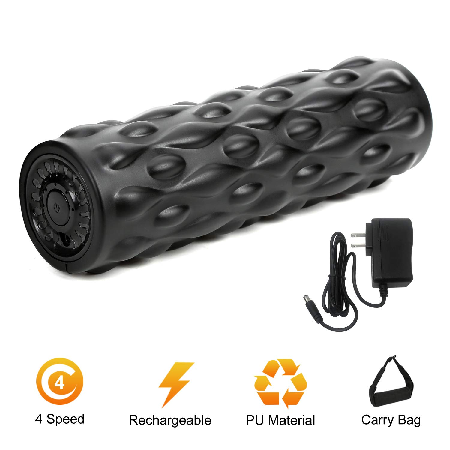 IDEER LIFE Vibrating Foam Roller, 4-Speed Vibrating Foam Roller, High-Intensity Deep Tissue Massager for Muscle Recovery, 12.3 Rechargeable Electric Massager Myofascial Release with Carry Bag. Black
