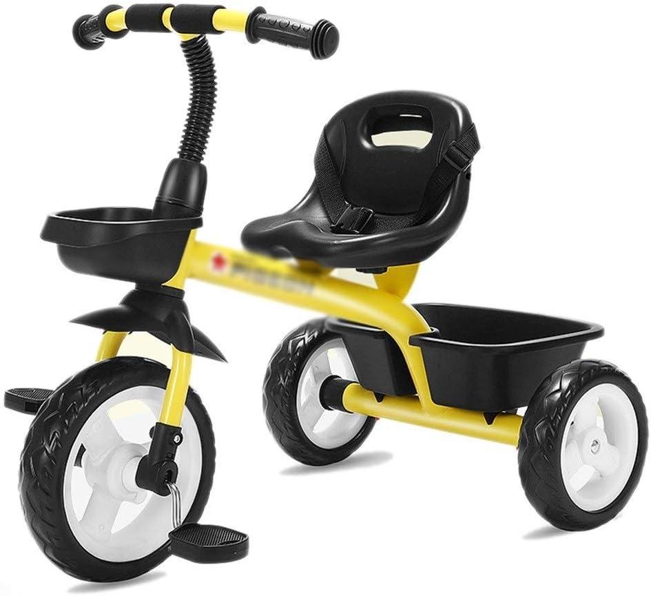 WJSW Bicicletas para niños Triciclo Infantil Práctica en Interiores para niños mismos Trolley Infantil para el hogar Triciclo Infantil (Color: Amarillo, tamaño: 74x50x60cm)