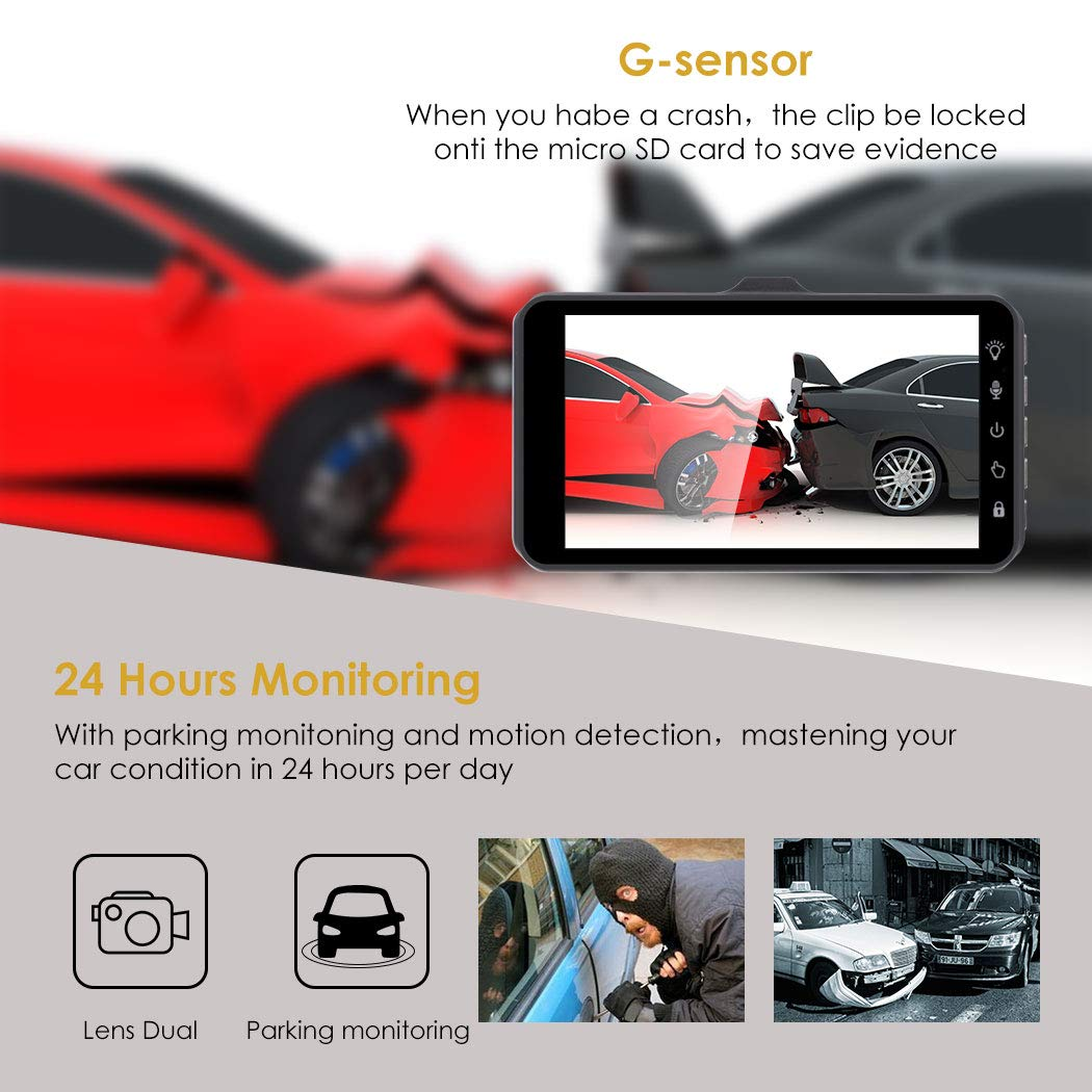 Dual Dash Cam Front and Rear,GEREE 1080p HD Car DVR Dashboard Camera Recorder with Night Vision G Sensor Motion Detection WDR Parking Monitor 4 inch IPS Touch Screen 170 Super Wide Angle