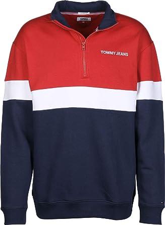 769f6206 Tommy Jeans Men's Retro Mock Neck Sweatshirt, Red: Amazon.co.uk ...