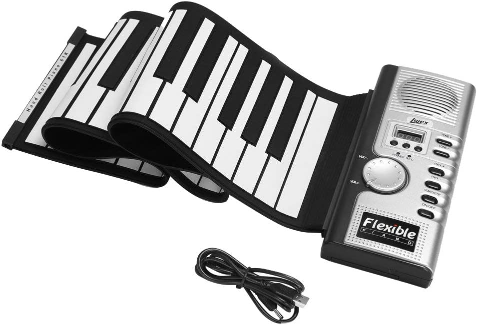 Shentesel 61-Key Portable Flexible Silicone Hand Roll Kids Adult Piano Electronic Keyboard