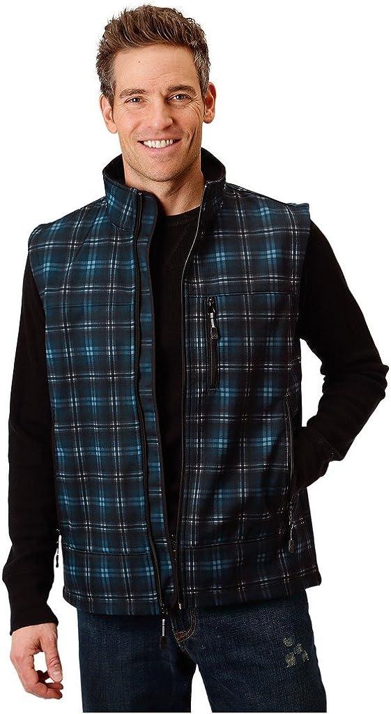 Roper Hi Tech Mens Blue Polyester Smokey Plaid Vest 2XL