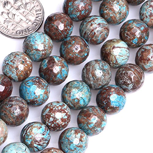 (GEM-inside 10MM Round Dyed Faceted Blue Sea Sediment Jasper Jewelry Making Beads 15 Inches)