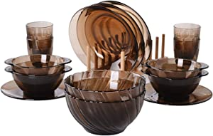 Stylish 15-piece Dinnerware Set, Tempered Glass Dishes, Plates,bowls and Cups, Service for 4, Dishwasher Safe, Brown