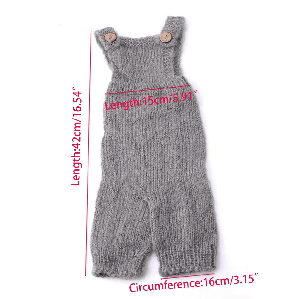 56931d271f74 Amazon.com   Tangc Newborn Baby Infant Knitted Mohair Rompers Overalls  Photography Props Outfits (Gray)   Baby
