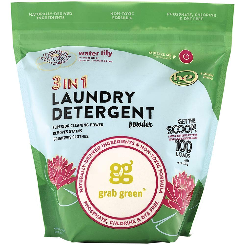 Grab Green Natural 3-in-1 Laundry Detergent Powder, Water Lily, 100 Loads by Grab Green