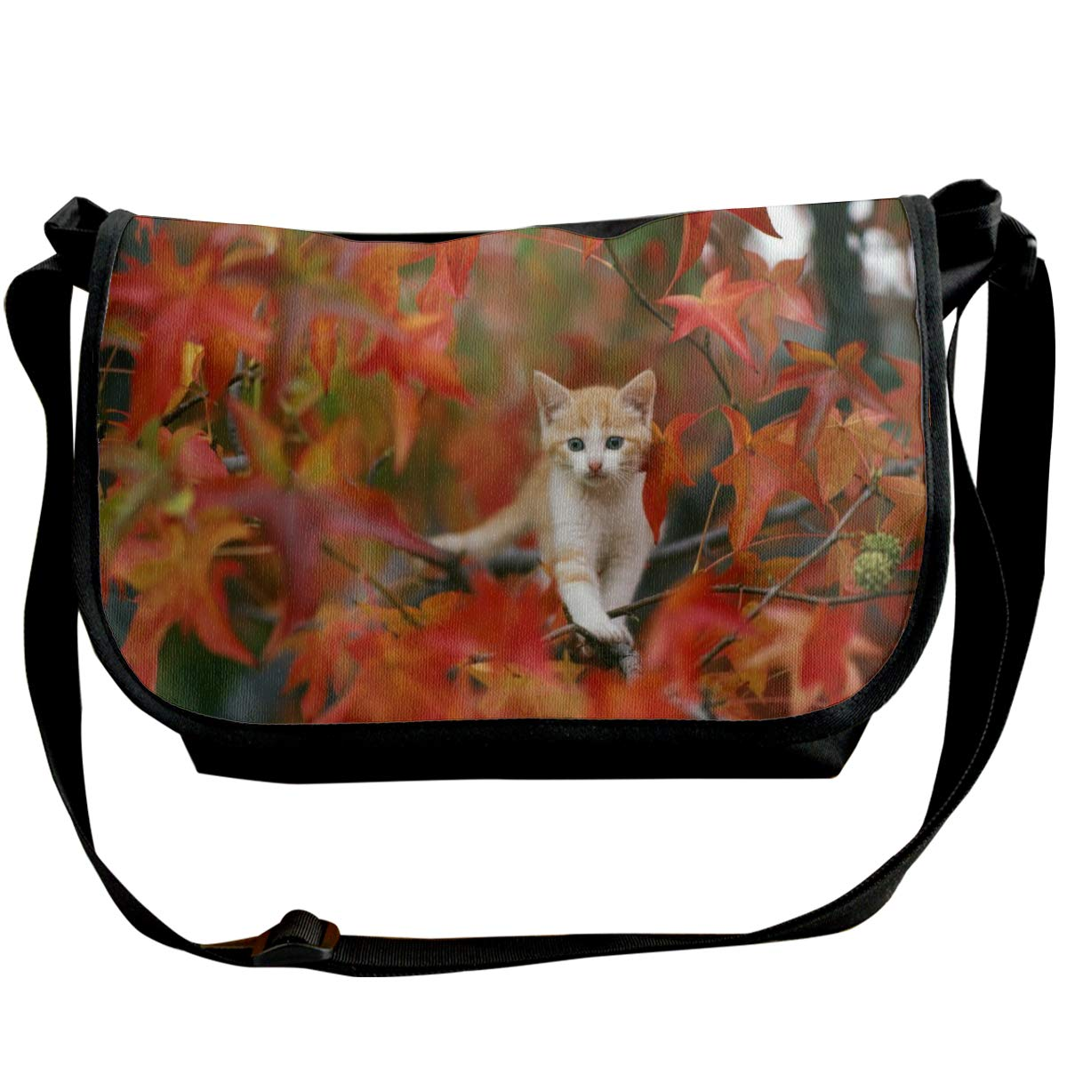 Taslilye Baby Animal Cat Fall Kitten Leaf Customized Wide Crossbody Shoulder Bag For Men And Women For Daily Work Or Travel