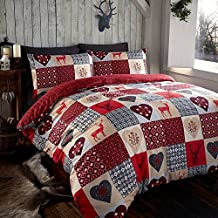 RUSTIC STAGS REIN DEER DUVET QUILT COVER SINGLE PATCHWORK BEDDING BED SET RED