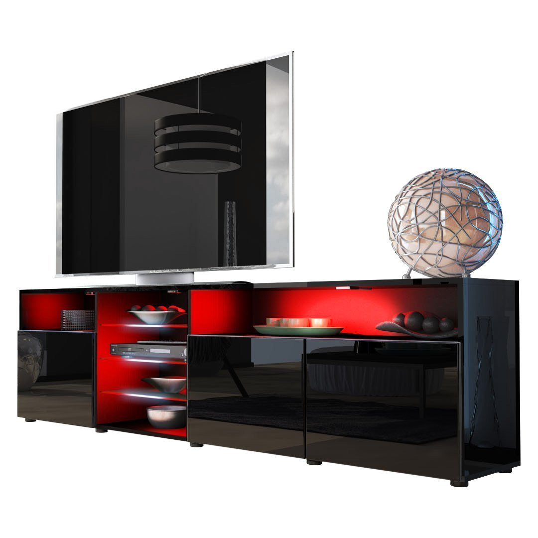 Meble Furniture & Rugs TV Stand Roma Matte Body High Gloss Doors Modern TV Stand LED (Black) by Meble Furniture & Rugs