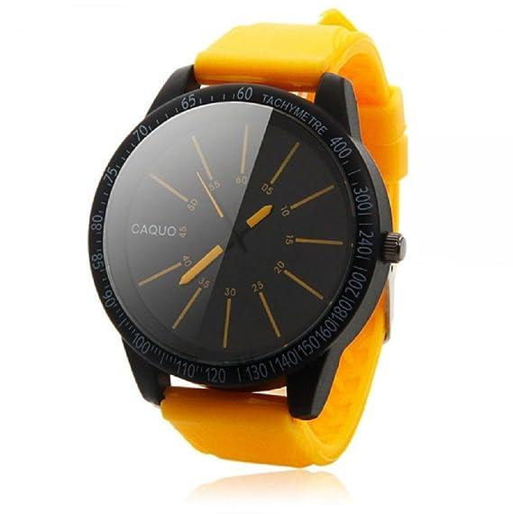 Sannysis® Hombres de acero inoxidable de moda de lujo del reloj del deporte(amarillo