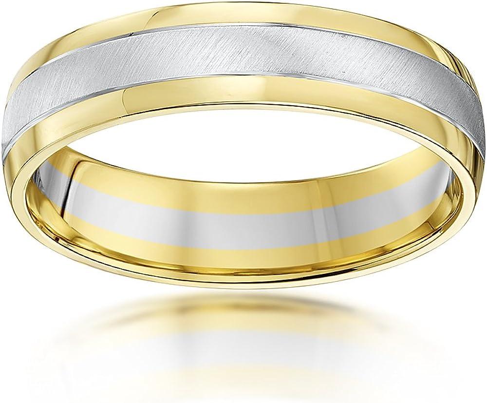 Theia Anillo de Bodas de Dos Colores, Oro Blanco en los Lados con Oro Amarillo Mate en el Centro de 9k de 5-7 mm Forma de Corte: Amazon.es: Joyería
