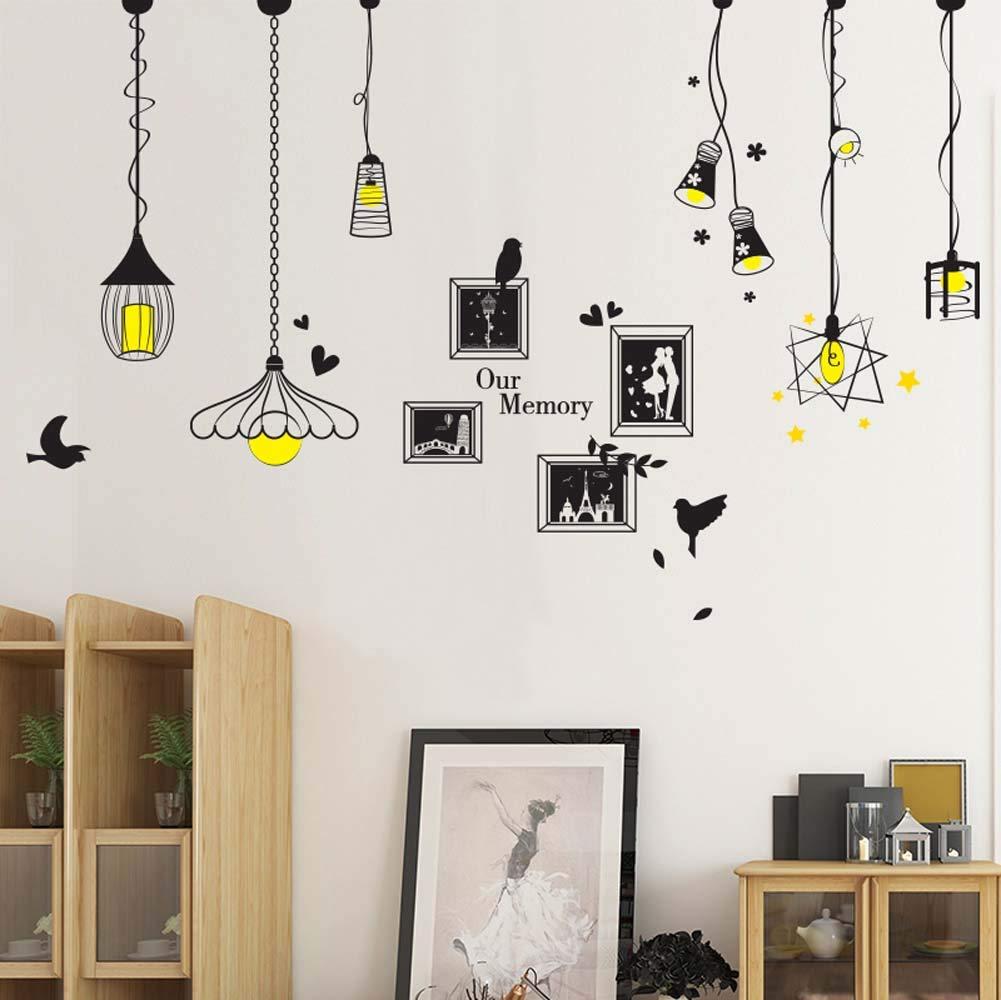 Amazon com iwallsticker hanging style chandelier wall decal ceiling lamp art sticker for living room bedroom nursery vinyl mural home kitchen