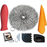 "KitCast (6 in One + e Book)- Cast Iron Scrubber (7"" Circle) Premium Stainless Steel Chainmail Cleaner With Bonus Hot Handle Holder + Pan Scraper + Grill Scraper + Kitchen Towel + Drying Hook"