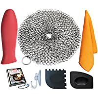 """KitCast (6 in One + e Book)- Cast Iron Scrubber (7"""" Circle) Premium Stainless Steel Chainmail Cleaner With Bonus Hot Handle Holder + Pan Scraper + Grill Scraper + Kitchen Towel + Drying Hook"""