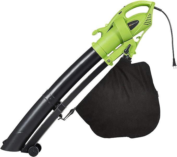TOPELEK 3-in-1 Electric Blower//Vacuum//Mulcher 185MPH Leaf Blower Vaccum Large 15.9 Gal Vacuum Mulcher with Wheels Fast Work Sweeper 7 Wind Speeds Leaf Vaccum Humane Designed Impellers