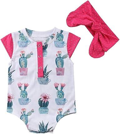 Mornyray Body bebé niña Cactus Manga Corta Mameluco algodón Tops con Diadema (Color : Pink, Size : X-Large): Amazon.es: Ropa y accesorios