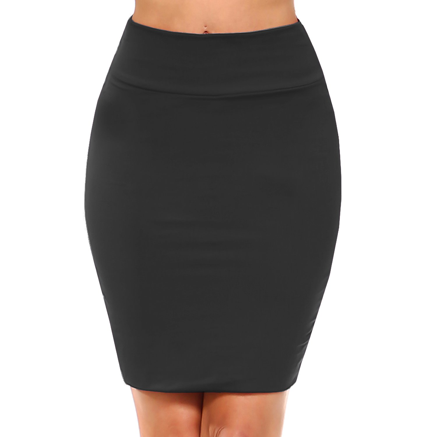 Fashionazzle Women's Casual Stretchy Bodycon Pencil Mid-Mini Skirt