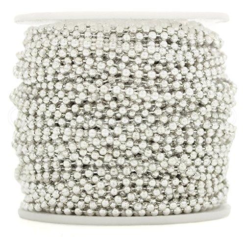 CleverDelights Ball Chain Roll - 100 Feet - Shiny Silver Color - 2.4mm Ball - #3 Size - Bulk (Light Pendant Tile 3)