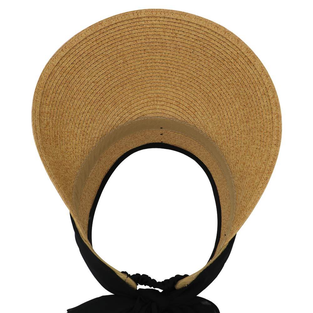 Adjustable Paper Straw Krono Krown Womens Wide Brim Summer Beach Sun Visor Hat w//Scarf UPF50+