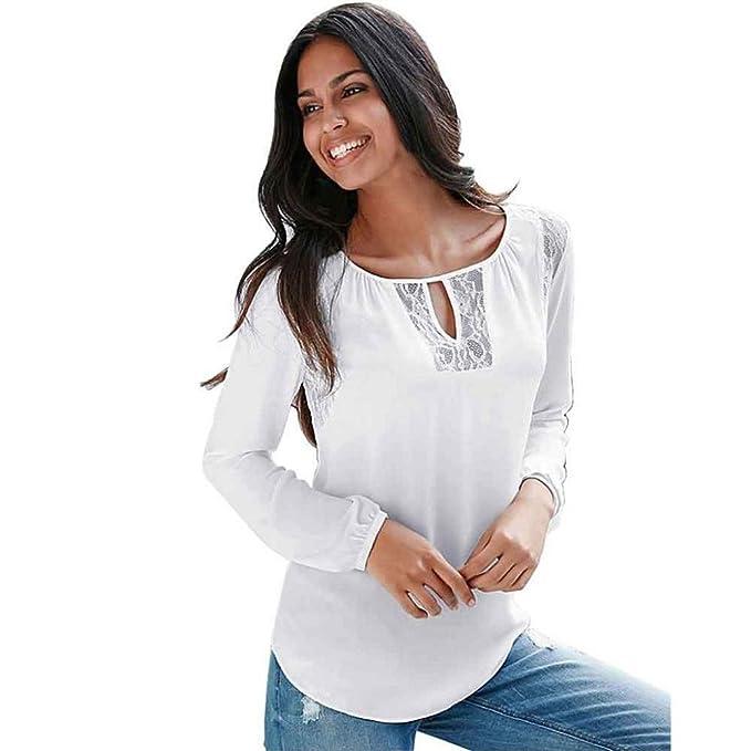 Tongshi Camisa de manga larga de las mujeres del cordón flojo irregular de la manera tapas