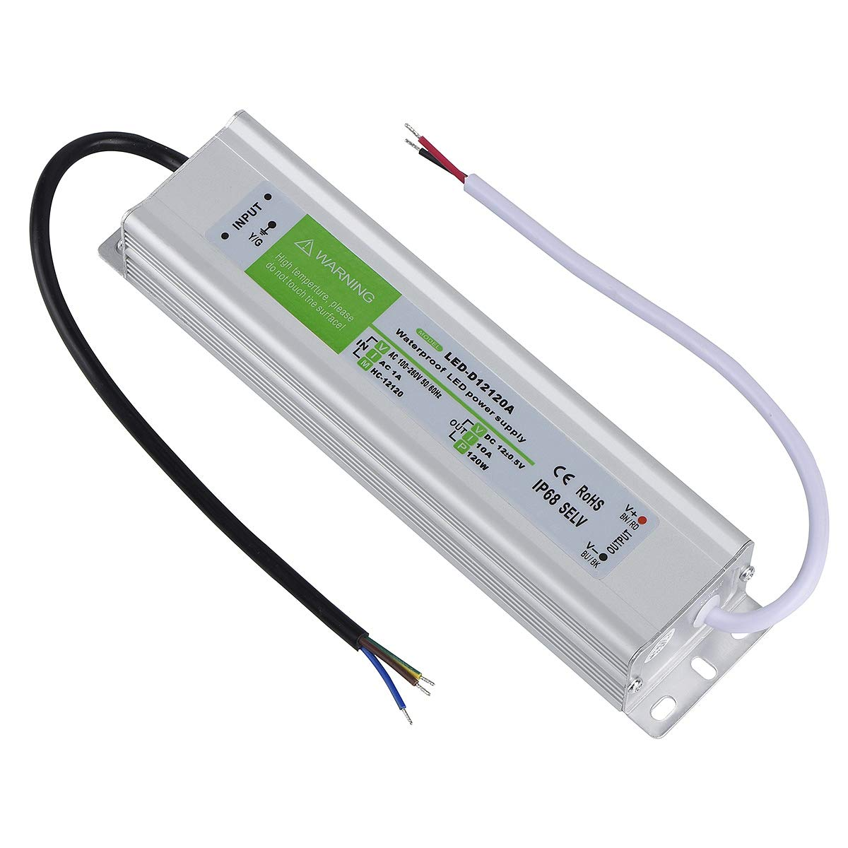 LED Driver 120 Watts Waterproof IP68 Power Supply Transformer Adapter 100V-260V AC to 12V DC Low Voltage Output for LED Light, Computer Project, Outdoor Light and Any 12V DC led Lights