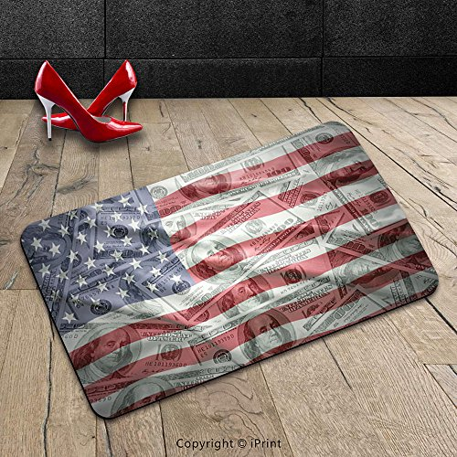 Custom Machine-washable Door Mat American Flag Decor American Dollar on Flag Money Currency Exchange Value Global Finance Idol Multi Indoor/Outdoor Doormat Mat Rug Carpet