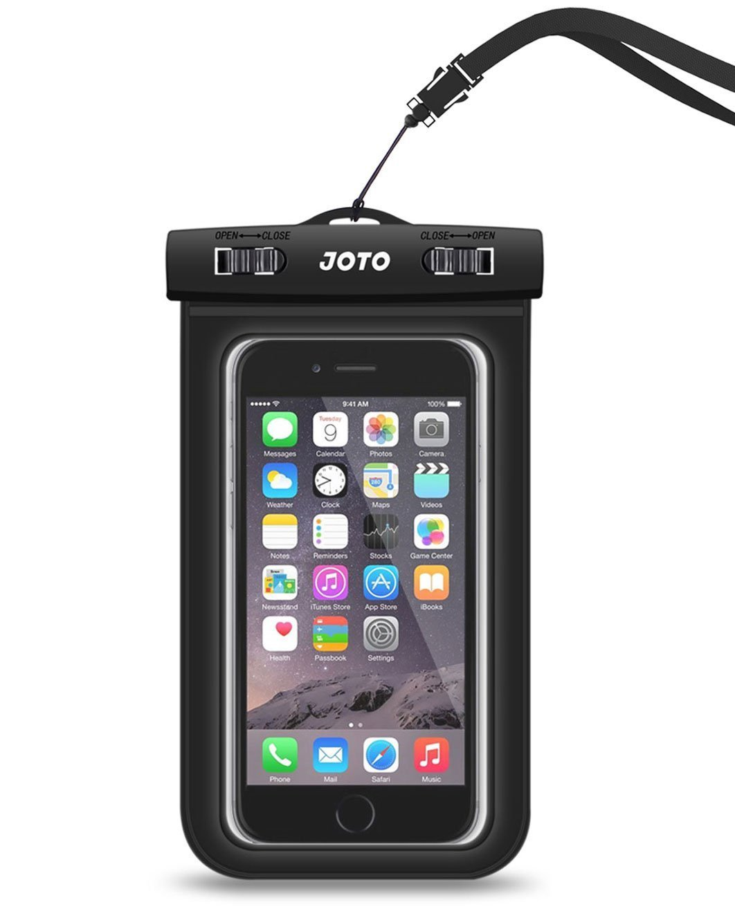 """Universal Waterproof Case, JOTO CellPhone Dry Bag Phone Pouch for iPhone 8/7/7 Plus/6S/6/6S Plus/SE/5S, Samsung Galaxy S8/S8 Plus/Note 8 6 5 4, Google Pixel 2 HTC LG Sony MOTO up to 6.0"""" -Black"""