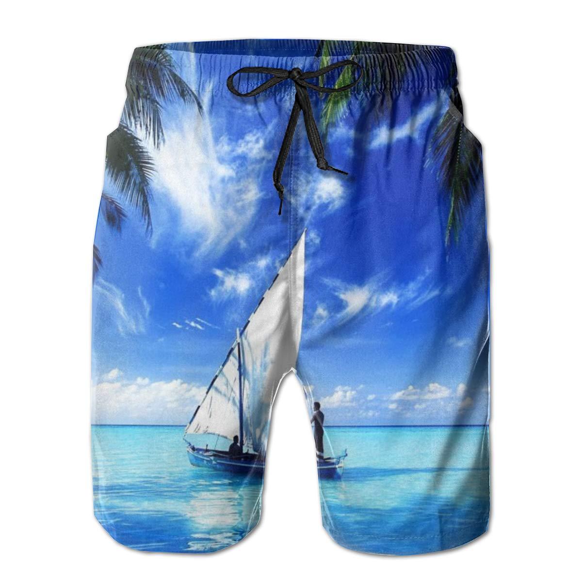 WMDJEG The Open Skyline of The Island Mens Summer Beachwear Sports Running Swim Board Shorts Mesh Lining