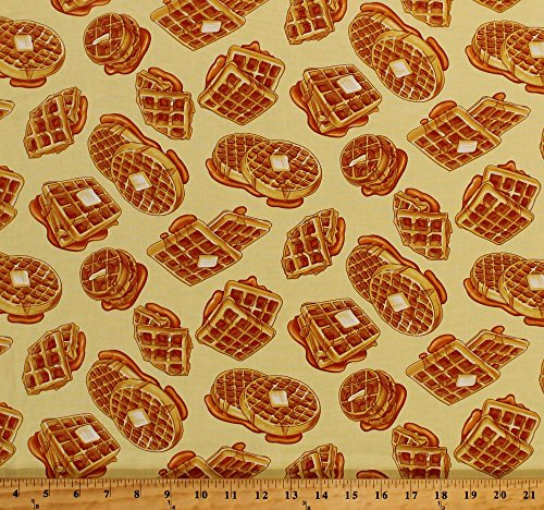 Cotton Waffles Breakfast Food Kitchen Culinary Syrup Butter Yellow Cotton Fabric Print by the Yard (05712-33)