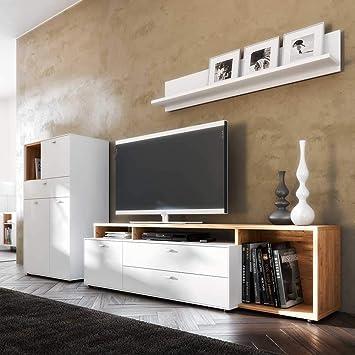 Pharao24 Design Wohnkombination in Weiß und Eiche modern ...