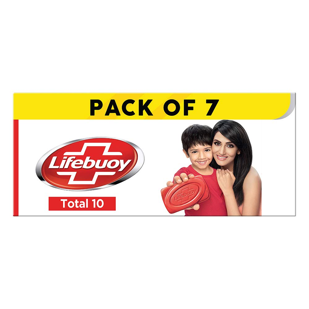 Lifebuoy Total10 Germ Protection Bathing Soap, Protects Your Skin From Viruses & Other Harmful Germs Using Activ Silver Shield Formula, Combo Offer (125 g x 7)