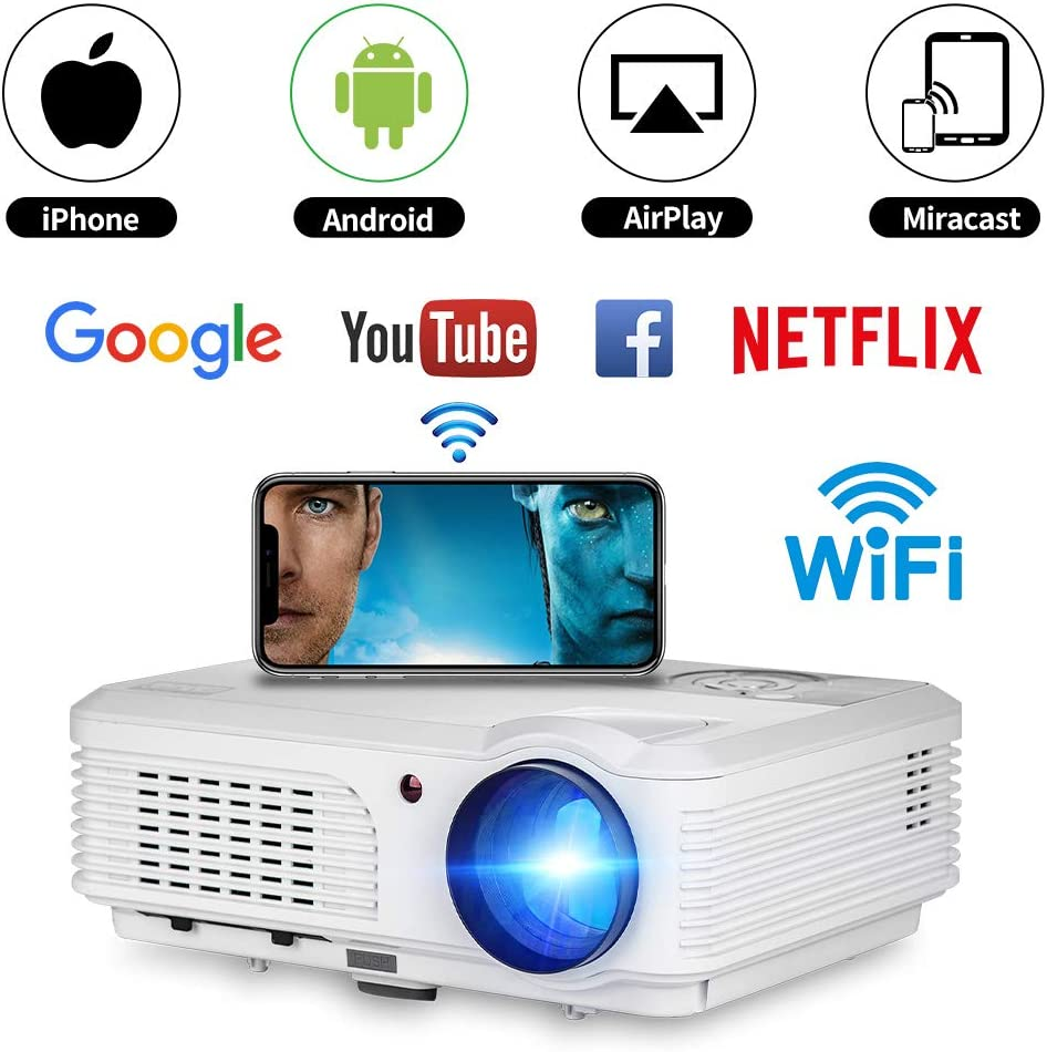 """WIKISH Smart Android Wifi Projector Support Full HD 150"""" Display Airplay Miracast,LED Projector Compatible with HDMI USB AV VGA TV Box DVD Player Game Console PC Roku Stick Mac,Build in Speaker"""