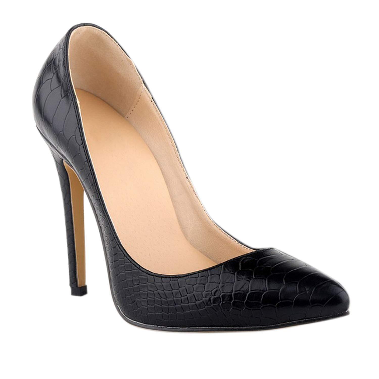 55f7dcea9b57e Frestepvie Women's Snakeskin Leopard Print Patent Leather Stiletto Shoes  Pointed Toe Dress Pumps Suede High Heel Court Shoes Size